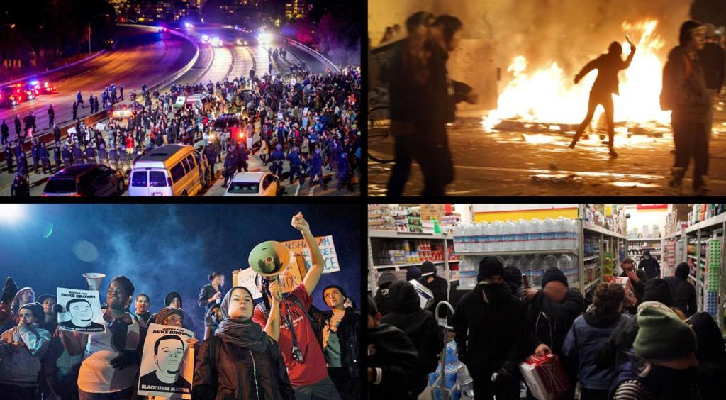 Des manifestants bloquant l'autoroute, érigeant des barricades et pillant des magasins le 24 novembre 2014