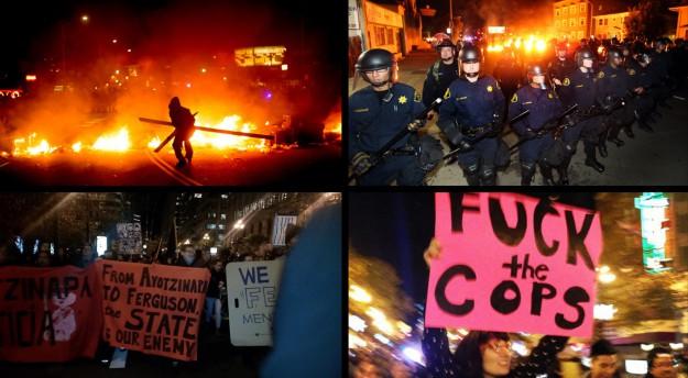 Barricades sur la Telegraph Avenue le 25 novembre ; la marche Black Friday 28 novembre