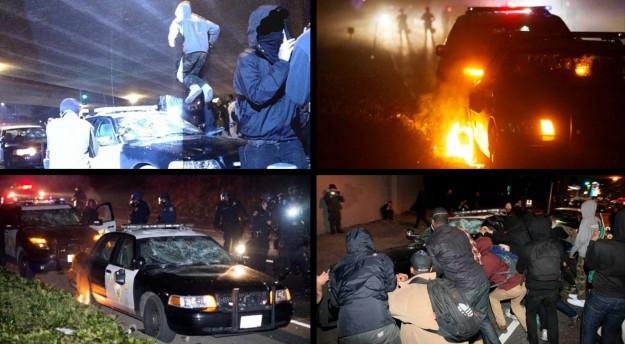 émeute durant un blocage d'autoroute le 7 décembre 2014