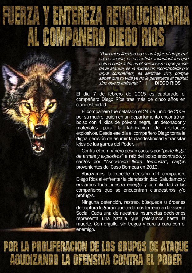 """Affiche en solidarité avec Diego - en gros caractère: """"Force et courage révolutionnaire au compagnon Diego Rios - Pour la prolifération des groupes d'attaque / Intensifions l'offensive contre le pouvoir"""""""