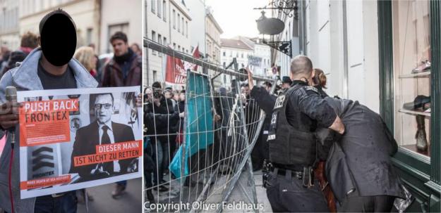 """A gauche: """"Repoussons FRONTEX - Cet homme [directeur de FRONTEX] n'est pas à secourir"""""""