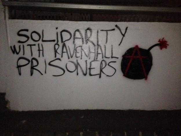 Graffiti en solidarité avec les émeutiers à proximité des murs de la prison de Ravenhall