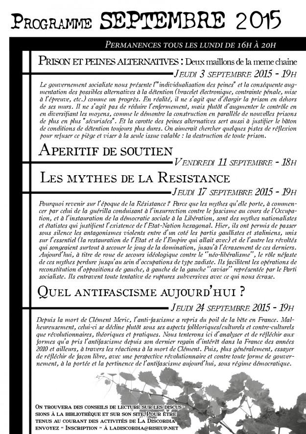 Le programme de septembre au format PDF
