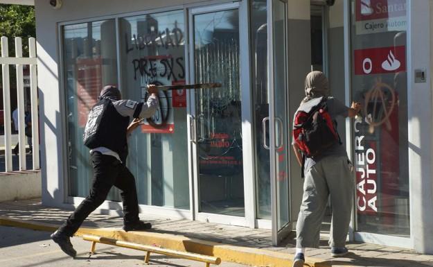 La banque 'Santander' de Oaxaca prise pour cible