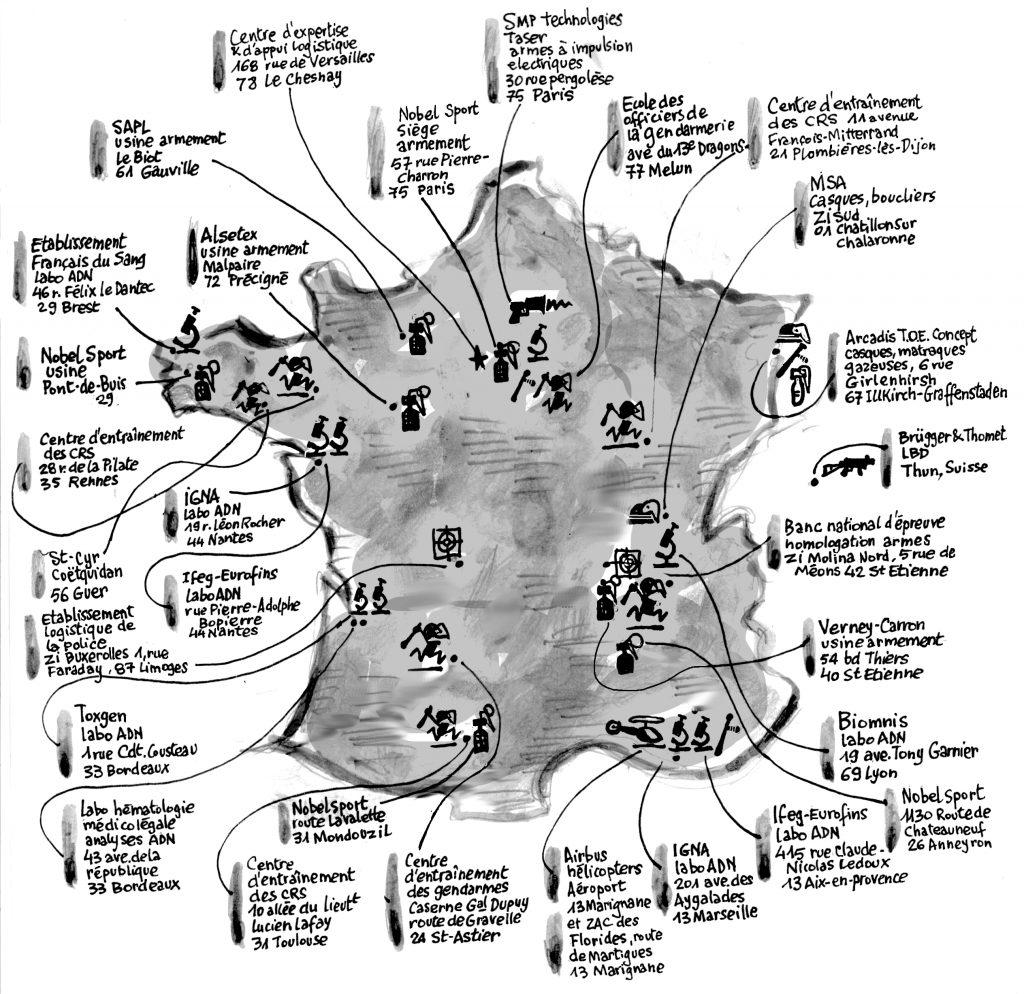 Carte des fabricants et laboratoires de l'arsenal policier (cliquer sur la carte pour l'agrandir)